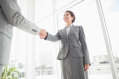 Smiling businesswoman shaking hand with a businessman Stock Photography