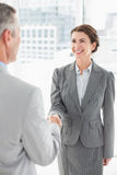 Smiling businesswoman shaking hand with a businessman Royalty Free Stock Photo