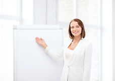 Smiling businesswoman showing flipchart Stock Photos