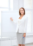 Smiling businesswoman showing flipchart Royalty Free Stock Photos