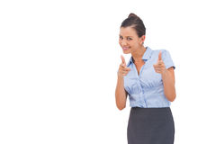 Smiling businesswoman showing something Stock Photography