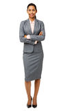 Smiling Businesswoman Standing Arms Crossed Stock Photo