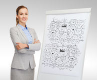 Smiling businesswoman standing next to flipboard Stock Image
