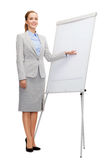 Smiling businesswoman standing next to flipboard Royalty Free Stock Photos