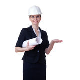 Smiling businesswoman standing over white isolated background Stock Image