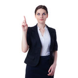 Smiling businesswoman standing over white isolated background Royalty Free Stock Photo