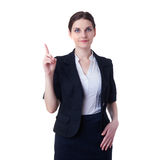 Smiling businesswoman standing over white isolated background Royalty Free Stock Photography