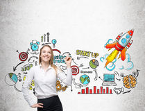 Smiling businesswoman and startup sketch. Smiling businesswoman with finger in the air is standing against concrete wall with startup sketch on it. Concept of Royalty Free Stock Photography