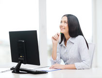Smiling businesswoman or student studying Stock Image