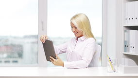 Smiling businesswoman or student with tablet pc stock video footage