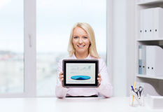 Smiling businesswoman or student with tablet pc Royalty Free Stock Photo