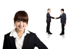 Smiling businesswoman and Successful transaction Stock Photos