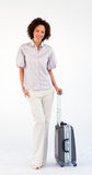 Smiling businesswoman with suitcase Royalty Free Stock Photo