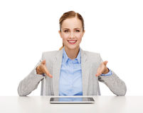 Smiling businesswoman with tablet pc Stock Images