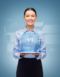 Smiling businesswoman with tablet pc. Business, technology, internet and education concept - friendly young smiling businesswoman with tablet pc and virtual Royalty Free Stock Photos