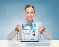 Smiling businesswoman with tablet pc Royalty Free Stock Image