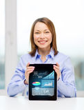 Smiling businesswoman with tablet pc computer. Business, office, technology, advertising and internet concept - smiling businesswoman with tablet pc computer Stock Images