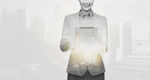 Smiling businesswoman with tablet pc computer Royalty Free Stock Photography