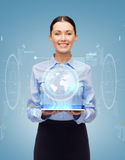 Smiling businesswoman with tablet pc computer Royalty Free Stock Photos