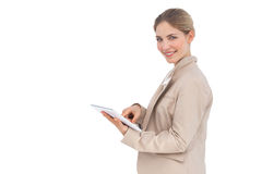 Smiling businesswoman with tablet pc Royalty Free Stock Photo