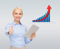 Smiling businesswoman with tablet pc and thumbs up Stock Photography
