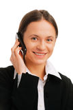 Smiling businesswoman  talking on mobile phone Stock Photos