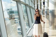 Smiling businesswoman talking on the phone in Stock Image