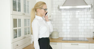 Smiling businesswoman talking by phone Stock Photos
