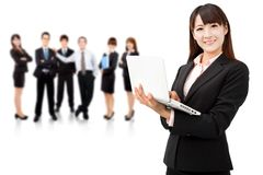 Smiling businesswoman and teamwork Royalty Free Stock Photo
