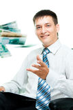 Smiling businesswoman throwing money Stock Photography