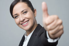 Smiling businesswoman thumbs up Royalty Free Stock Photo