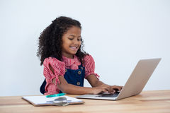 Smiling businesswoman using laptop computer at desk Royalty Free Stock Photo