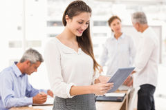 Smiling businesswoman using tablet in a meeting Stock Photos