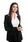 Smiling businesswoman wearing black suit Royalty Free Stock Photography