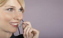 Smiling Businesswoman Wearing Headset Royalty Free Stock Photo