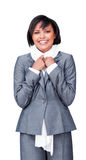 Smiling businesswoman wearing a white scarf Royalty Free Stock Image
