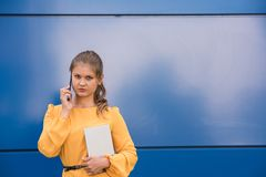 Smiling young businesswoman on the phone holding tablet Stock Images