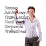 Smiling businesswoman witing steps to success Stock Photo