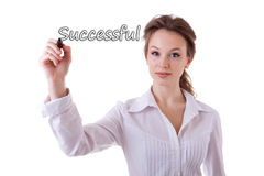 Smiling businesswoman witing successful in virtual space Royalty Free Stock Image