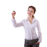 Smiling businesswoman witing in virtual space Stock Images