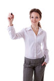 Smiling businesswoman witing in virtual space Stock Photo
