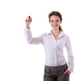 Smiling businesswoman witing in virtual space Royalty Free Stock Photos
