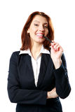Smiling businesswoman woman with pen Stock Images