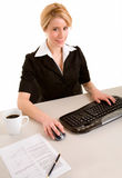 Smiling Businesswoman Working on her Computer Stock Images