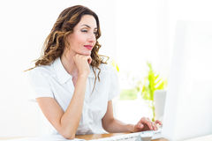 Smiling businesswoman working with her computer Stock Photos