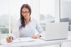 Smiling businesswoman working at her desk Stock Images