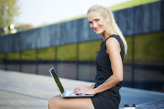Smiling businesswoman working on notebook Stock Photos
