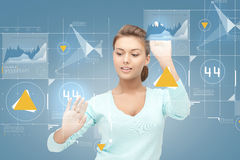 Smiling businesswoman working with virtual screen Royalty Free Stock Photo
