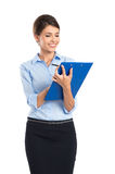 Smiling Businesswoman Writing On Clipboard. Portrait Of Happy Businesswoman Writing On Clipboard Isolated On White Background Stock Photography