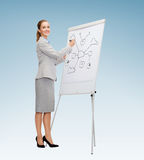 Smiling businesswoman writing on flip board Stock Photography